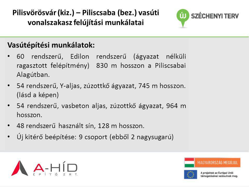 Pilisvörösvár (kiz.) – Piliscsaba (bez.) vasúti vonalszakasz felújítási munkálatai Vasútépítési munkálatok: 60 rendszerű, Edilon rendszerű (ágyazat né