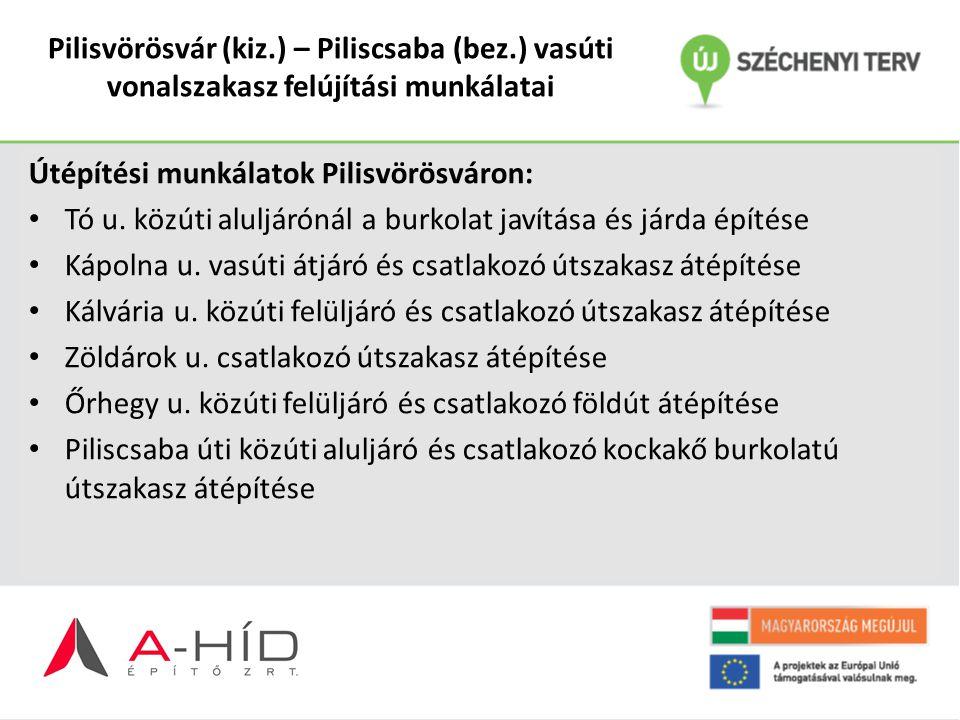 Pilisvörösvár (kiz.) – Piliscsaba (bez.) vasúti vonalszakasz felújítási munkálatai Útépítési munkálatok Pilisvörösváron: Tó u. közúti aluljárónál a bu