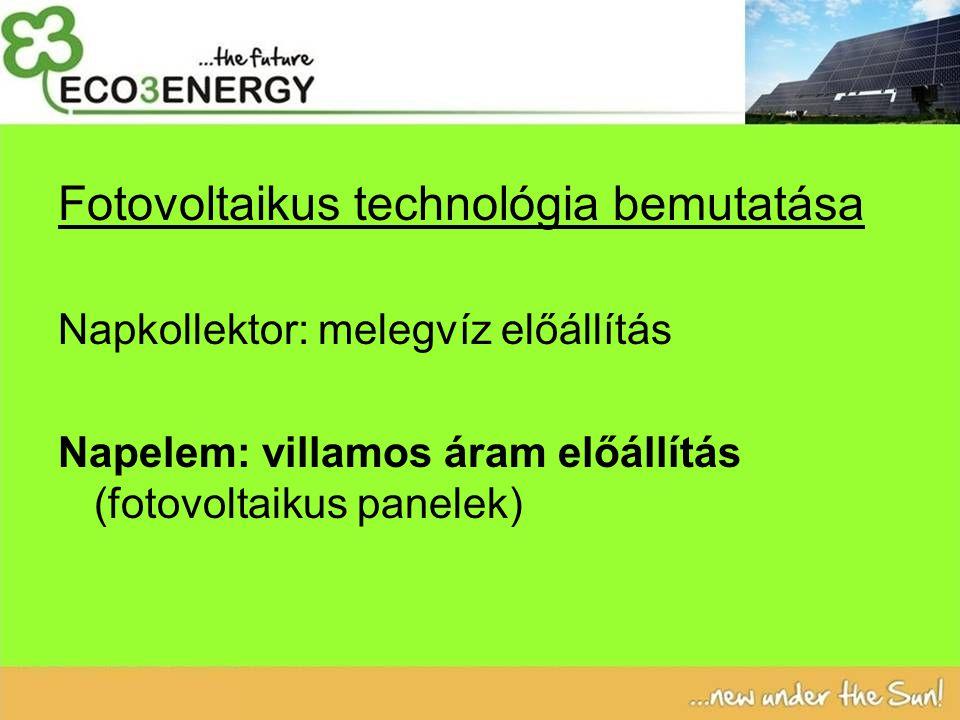 Fotovoltaikus technológia bemutatása Napkollektor: melegvíz előállítás Napelem: villamos áram előállítás (fotovoltaikus panelek)