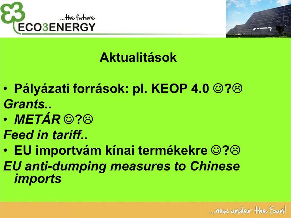 Aktualitások Pályázati források: pl. KEOP 4.0 .  Grants..