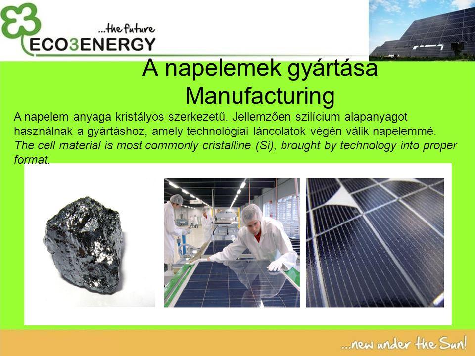 A napelemek gyártása Manufacturing A napelem anyaga kristályos szerkezetű.