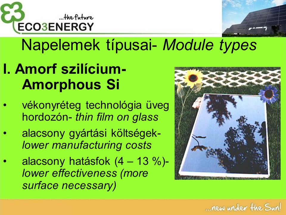 Napelemek típusai- Module types I.
