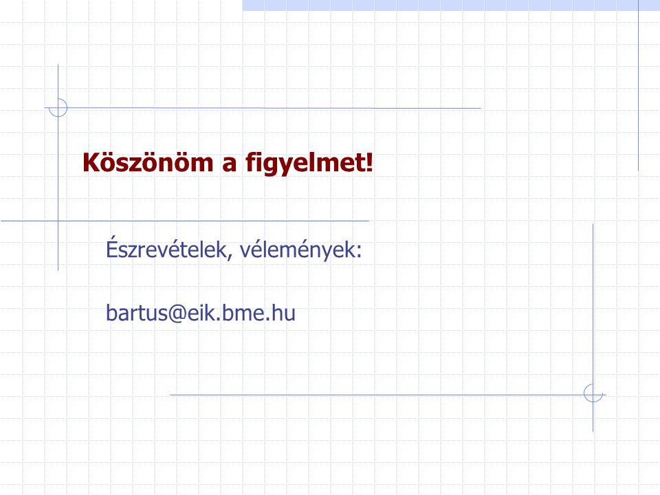 Köszönöm a figyelmet! Észrevételek, vélemények: bartus@eik.bme.hu