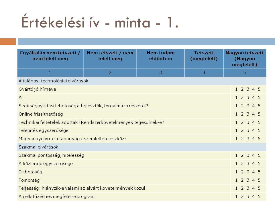 Értékelési ív - minta - 1.