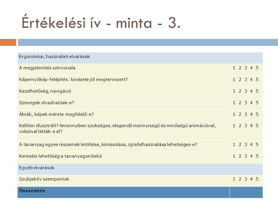 Tananyagok értékelési szempontjai - 1.