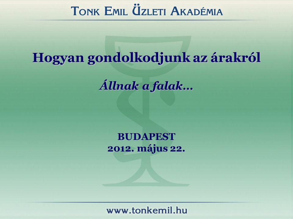 Hogyan gondolkodjunk az árakról Állnak a falak… BUDAPEST 2012. május 22.
