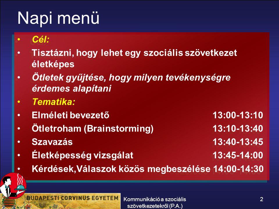Kommunikáció a szociális szövetkezetekről (P.A.) 2 Napi menü Cél: Tisztázni, hogy lehet egy szociális szövetkezet életképes Ötletek gyűjtése, hogy milyen tevékenységre érdemes alapítani Tematika: Elméleti bevezető 13:00-13:10 Ötletroham (Brainstorming) 13:10-13:40 Szavazás 13:40-13:45 Életképesség vizsgálat 13:45-14:00 Kérdések,Válaszok közös megbeszélése 14:00-14:30 Cél: Tisztázni, hogy lehet egy szociális szövetkezet életképes Ötletek gyűjtése, hogy milyen tevékenységre érdemes alapítani Tematika: Elméleti bevezető 13:00-13:10 Ötletroham (Brainstorming) 13:10-13:40 Szavazás 13:40-13:45 Életképesség vizsgálat 13:45-14:00 Kérdések,Válaszok közös megbeszélése 14:00-14:30
