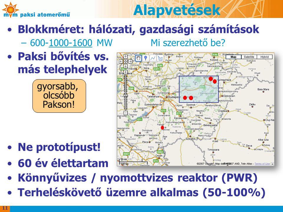 Alapvetések Blokkméret: hálózati, gazdasági számítások –600-1000-1600 MW Mi szerezhető be? Paksi bővítés vs. más telephelyek Ne prototípust! 60 év éle