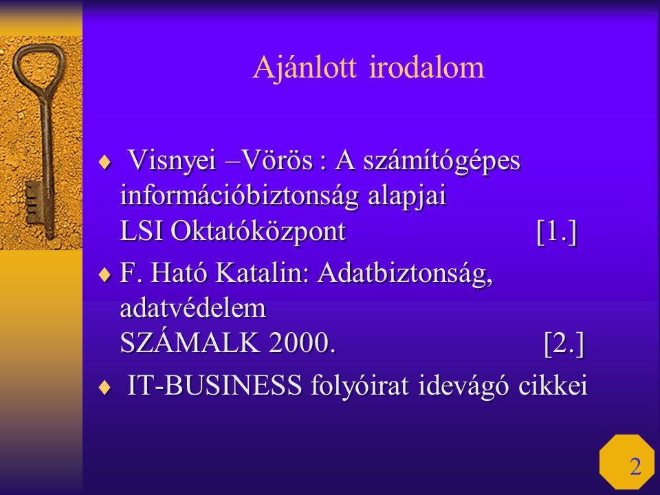 2 Ajánlott irodalom  Visnyei –Vörös : A számítógépes információbiztonság alapjai LSI Oktatóközpont [1.]  F. Ható Katalin: Adatbiztonság, adatvédelem