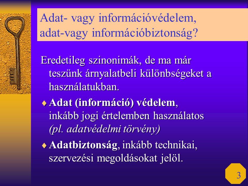 3 Adat- vagy információvédelem, adat-vagy információbiztonság? Eredetileg szinonimák, de ma már teszünk árnyalatbeli különbségeket a használatukban. 