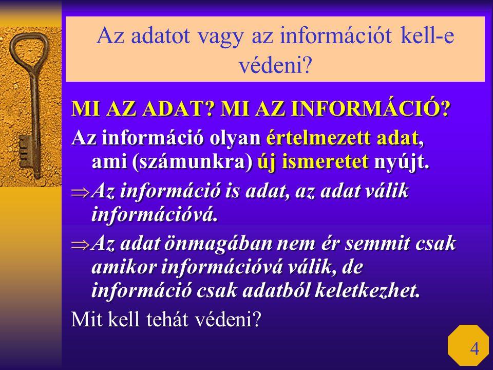 4 Az adatot vagy az információt kell-e védeni? MI AZ ADAT? MI AZ INFORMÁCIÓ? Az információ olyan értelmezett adat, ami (számunkra) új ismeretet nyújt.