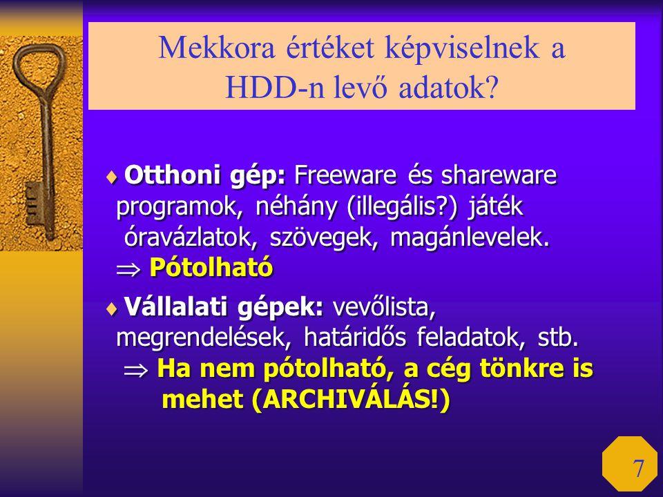 7 Mekkora értéket képviselnek a HDD-n levő adatok?  Otthoni gép: Freeware és shareware programok, néhány (illegális?) játék óravázlatok, szövegek, ma