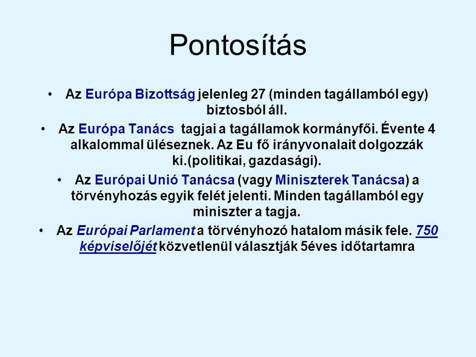 Pontosítás Az Európa Bizottság jelenleg 27 (minden tagállamból egy) biztosból áll.