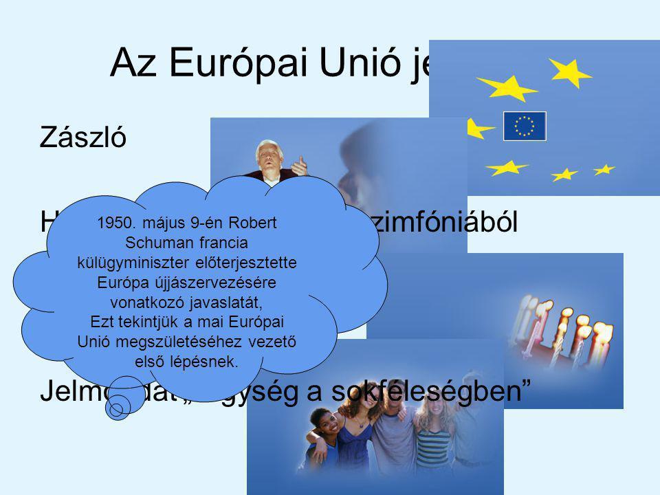 Az Európai Unió jelképei Zászló Himnusz: Beethoven IX.szimfóniából Európa-nap május 9.