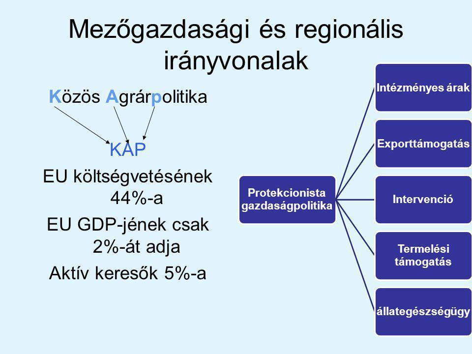 Mezőgazdasági és regionális irányvonalak Közös Agrárpolitika KAP EU költségvetésének 44%-a EU GDP-jének csak 2%-át adja Aktív keresők 5%-a Protekcionista gazdaságpolitika Intézményes árakExporttámogatásIntervenció Termelési támogatás állategészségügy