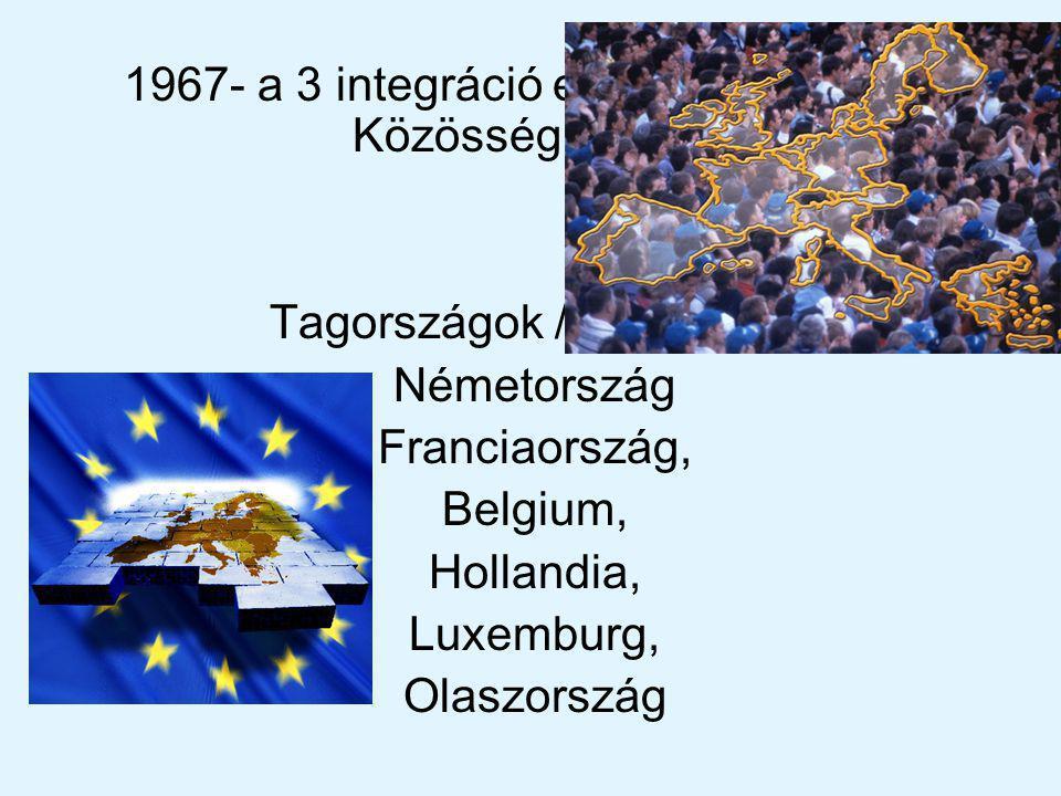 1967- a 3 integráció egyesült Európai Közösség néven.