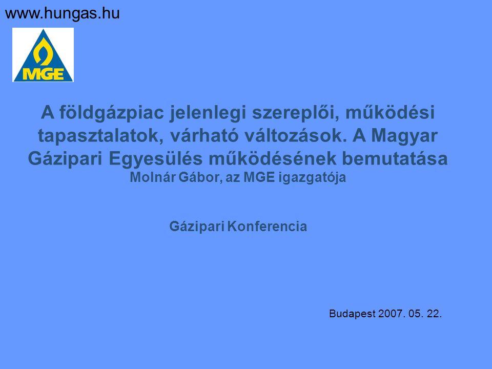 A földgázpiac jelenlegi szereplői, működési tapasztalatok, várható változások. A Magyar Gázipari Egyesülés működésének bemutatása Molnár Gábor, az MGE