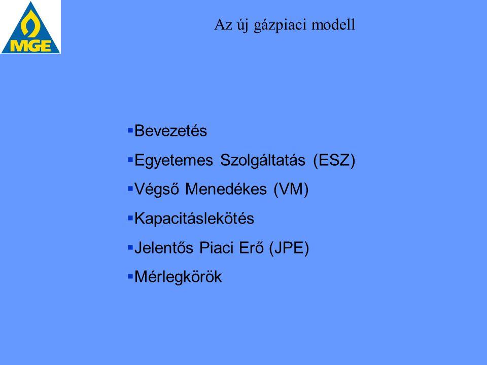 Az új gázpiaci modell  Bevezetés  Egyetemes Szolgáltatás (ESZ)  Végső Menedékes (VM)  Kapacitáslekötés  Jelentős Piaci Erő (JPE)  Mérlegkörök