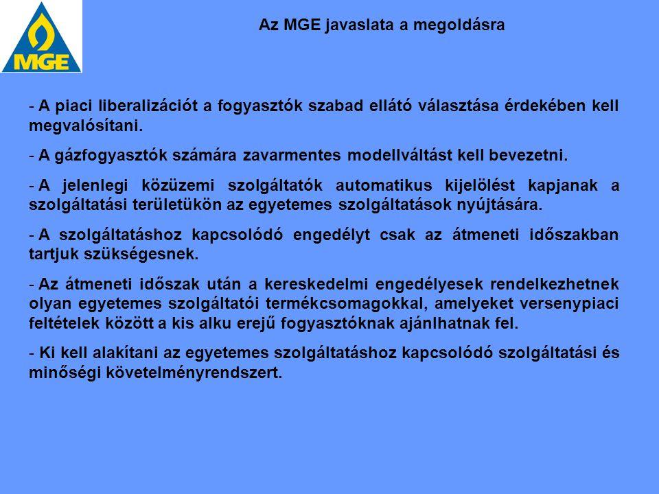 Az MGE javaslata a megoldásra - A piaci liberalizációt a fogyasztók szabad ellátó választása érdekében kell megvalósítani. - A gázfogyasztók számára z