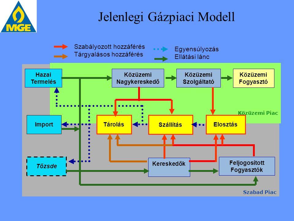 Jelenlegi Gázpiaci Modell Szabad Piac Közüzemi Piac Hazai Termelés Import Tőzsde Közüzemi Nagykereskedő Közüzemi Szolgáltató Közüzemi Fogyasztó Tárolá