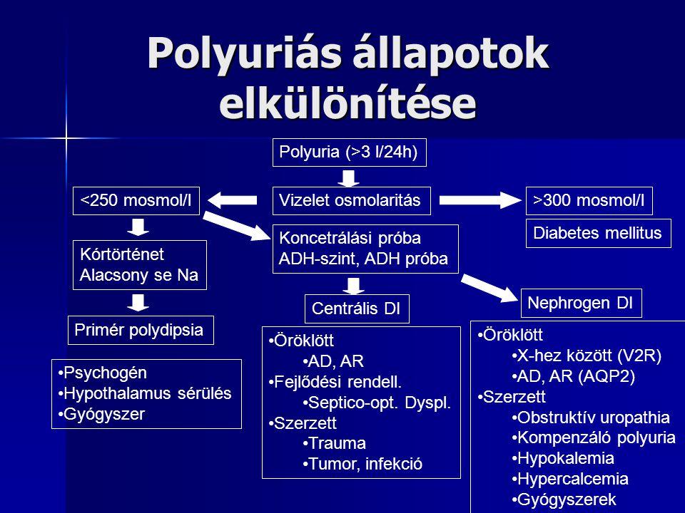 Polyuriás állapotok elkülönítése Polyuria (>3 l/24h) Vizelet osmolaritás<250 mosmol/l>300 mosmol/l Kórtörténet Alacsony se Na Primér polydipsia Koncet