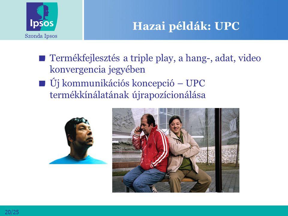 Szonda Ipsos 20/25 Hazai példák: UPC Termékfejlesztés a triple play, a hang-, adat, video konvergencia jegyében Új kommunikációs koncepció – UPC termé