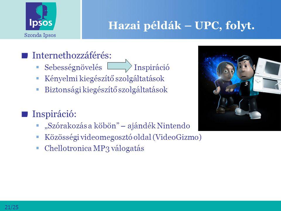 Szonda Ipsos 21/25 Hazai példák – UPC, folyt. Internethozzáférés:  Sebességnövelés Inspiráció  Kényelmi kiegészítő szolgáltatások  Biztonsági kiegé