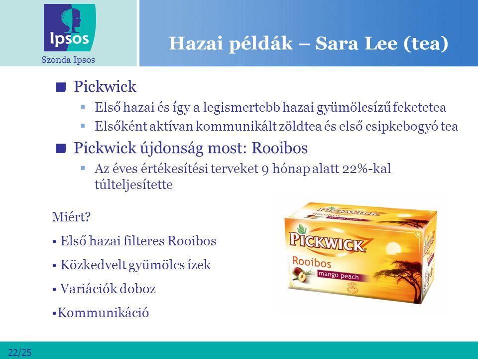 Szonda Ipsos 22/25 Hazai példák – Sara Lee (tea) Pickwick  Első hazai és így a legismertebb hazai gyümölcsízű feketetea  Elsőként aktívan kommunikál