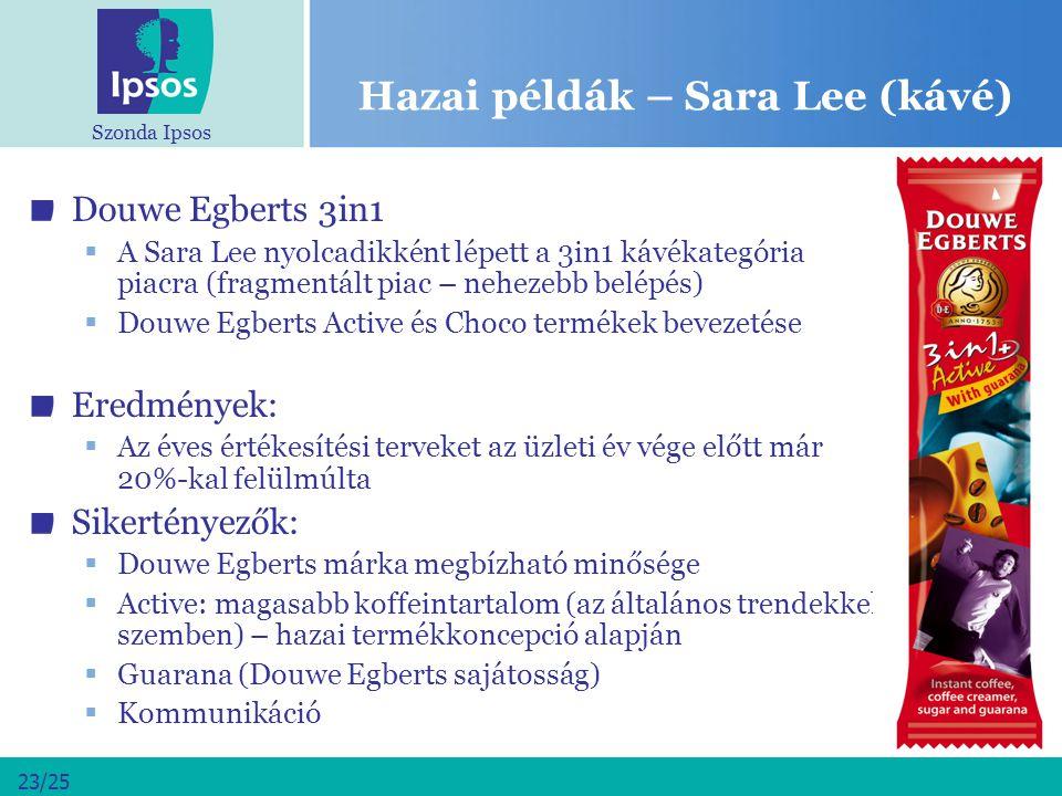 Szonda Ipsos 23/25 Hazai példák – Sara Lee (kávé) Douwe Egberts 3in1  A Sara Lee nyolcadikként lépett a 3in1 kávékategória piacra (fragmentált piac –
