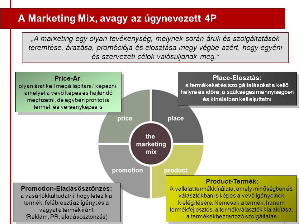 A Marketing Mix, avagy az úgynevezett 4P Price-Ár : olyan árat kell megállapítani / képezni, amelyet a vevő képes és hajlandó megfizetni, de egyben pr