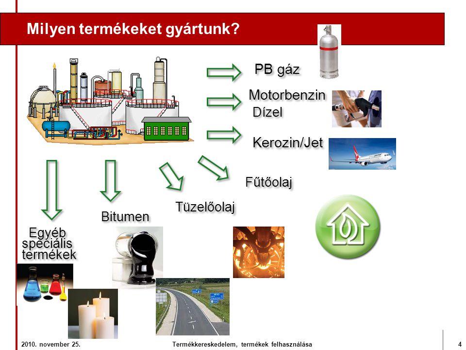 Milyen termékeket gyártunk? PB gáz Motorbenzin Dízel Fűtőolaj Tüzelőolaj Kerozin/Jet Bitumen Egyéb speciális termékek Egyéb speciális termékek 2010. n