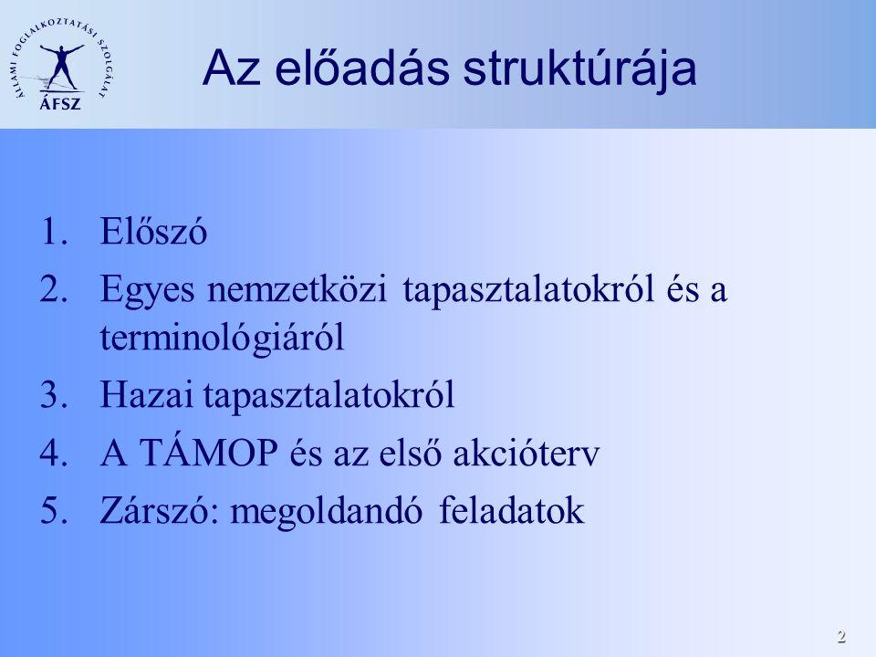 2 Az előadás struktúrája 1.Előszó 2.Egyes nemzetközi tapasztalatokról és a terminológiáról 3.Hazai tapasztalatokról 4.A TÁMOP és az első akcióterv 5.Zárszó: megoldandó feladatok