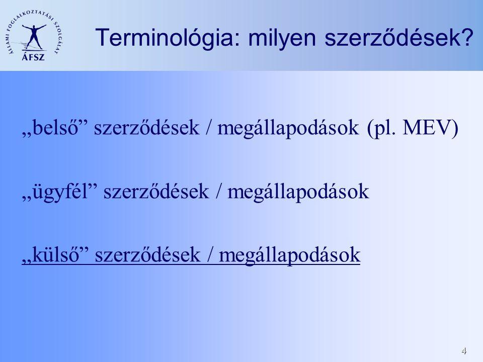 """4 Terminológia: milyen szerződések. """"belső szerződések / megállapodások (pl."""