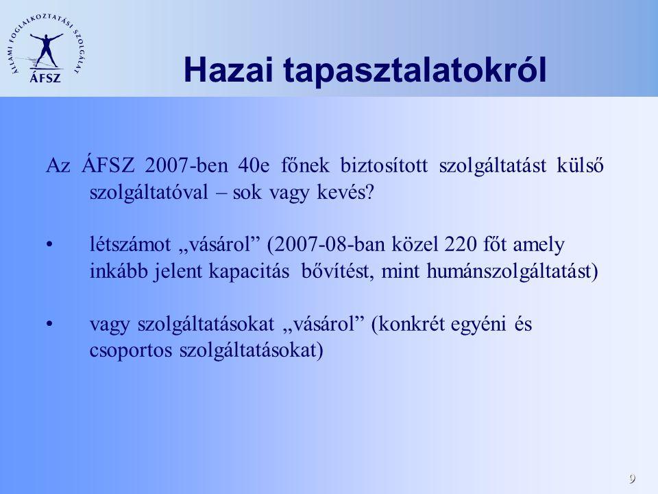 9 Az ÁFSZ 2007-ben 40e főnek biztosított szolgáltatást külső szolgáltatóval – sok vagy kevés.