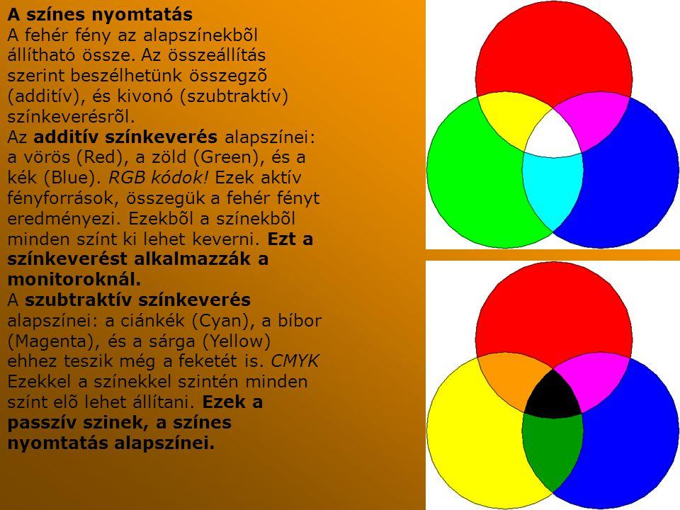 A színes nyomtatás A fehér fény az alapszínekbõl állítható össze. Az összeállítás szerint beszélhetünk összegzõ (additív), és kivonó (szubtraktív) szí