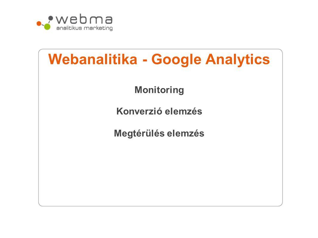 Webanalitika - Google Analytics Monitoring Konverzió elemzés Megtérülés elemzés