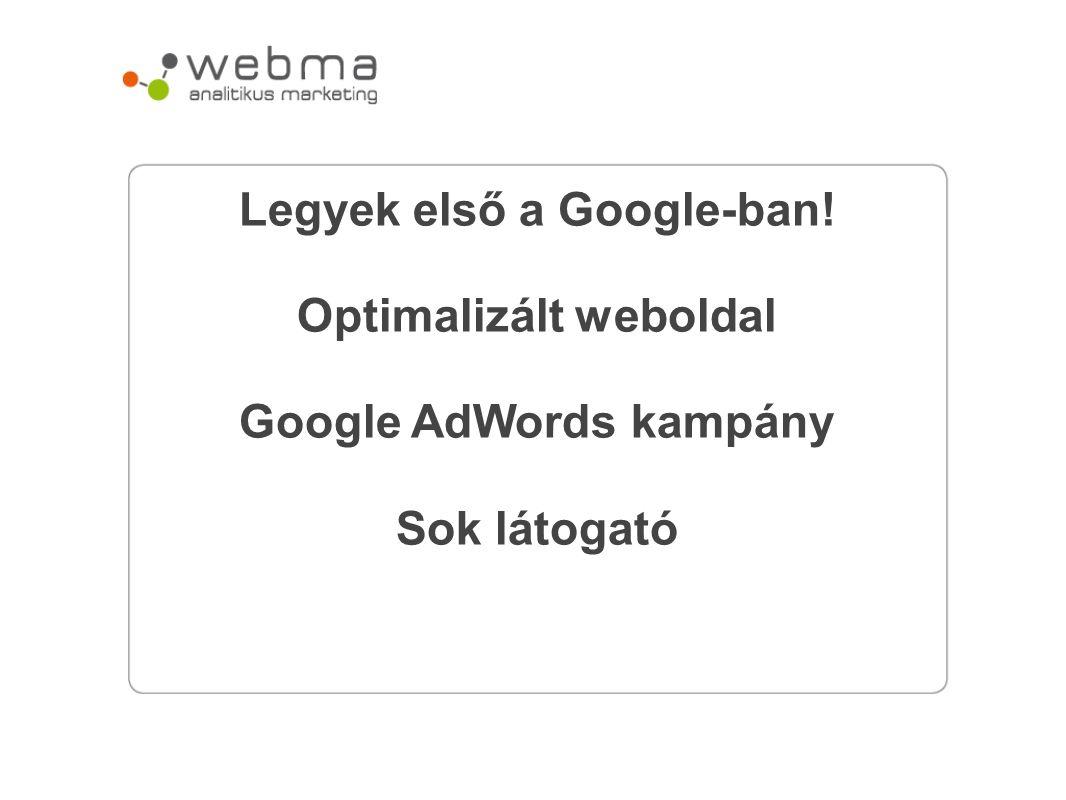 Legyek első a Google-ban! Optimalizált weboldal Google AdWords kampány Sok látogató