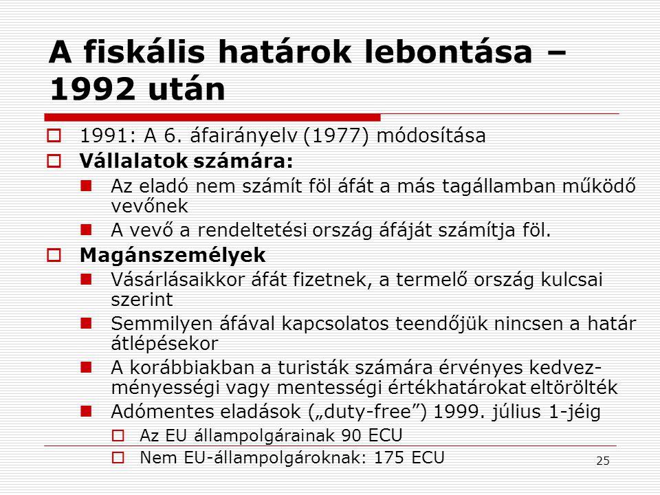 25 A fiskális határok lebontása – 1992 után  1991: A 6.
