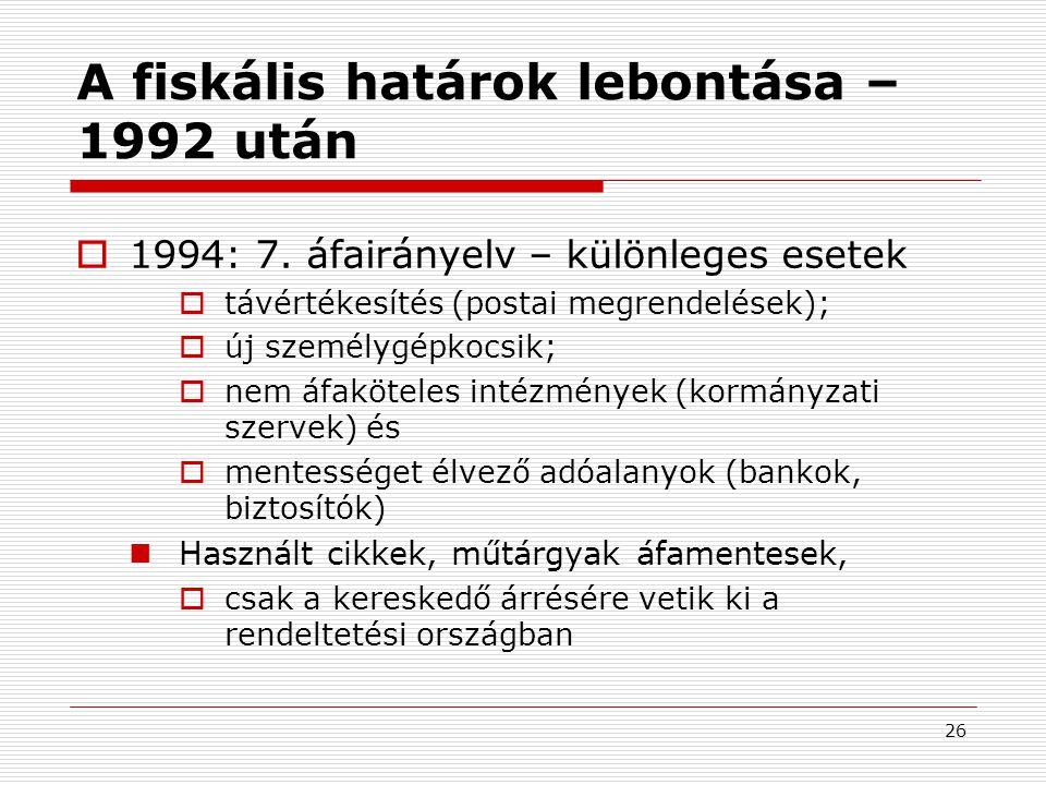 26 A fiskális határok lebontása – 1992 után  1994: 7.