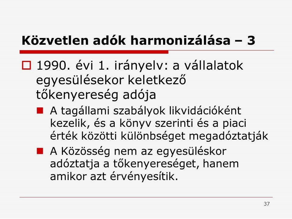 37 Közvetlen adók harmonizálása – 3  1990.évi 1.