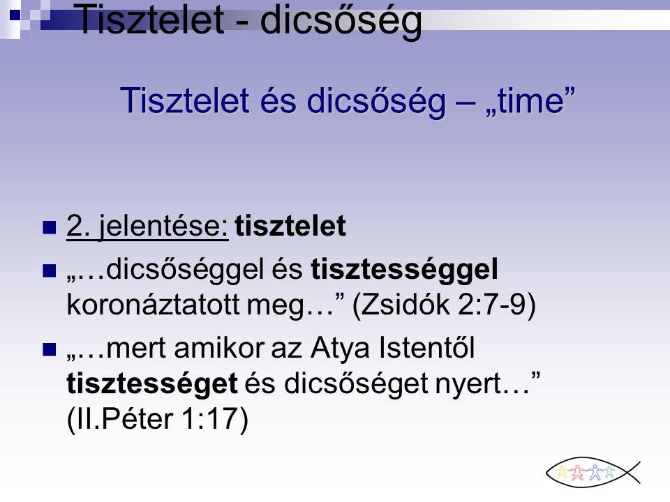 """Tisztelet - dicsőség 2. jelentése: tisztelet """"…dicsőséggel és tisztességgel koronáztatott meg…"""" (Zsidók 2:7-9) """"…mert amikor az Atya Istentől tisztess"""