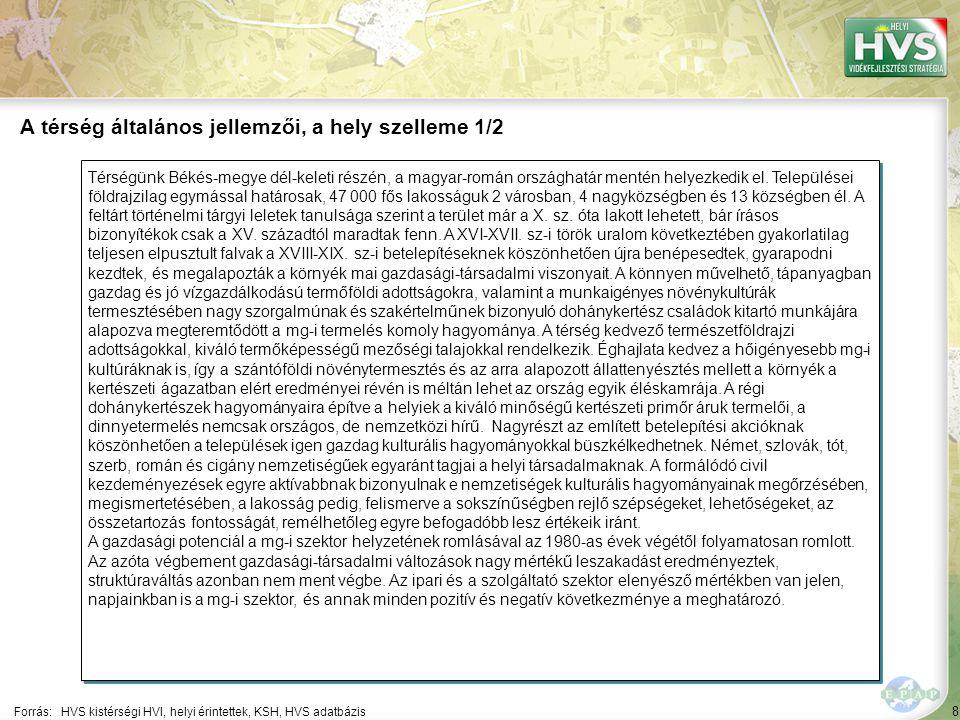 """49 Települések egy mondatos jellemzése 7/10 A települések legfontosabb problémájának és lehetőségének egy mondatos jellemzése támpontot ad a legfontosabb fejlesztések meghatározásához Forrás:HVS kistérségi HVI, helyi érintettek, HVT adatbázis TelepülésLegfontosabb probléma a településen ▪Mezőkovácsh áza ▪""""Infrastruktúra fejletlensége, ipari munkahelyek hiánya, elvándorlás (elöregedő lakosság), magas munkanélküliség, az önkormányzat az egyik legnagyobb foglalkoztató. ▪Nagybánhegy es ▪""""Fokozatosan elöregedő demográfiai összetétel."""