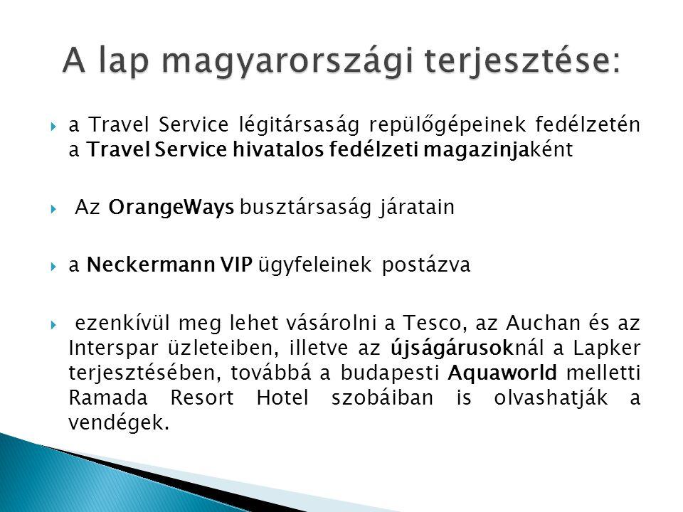  a Travel Service légitársaság repülőgépeinek fedélzetén a Travel Service hivatalos fedélzeti magazinjaként  Az OrangeWays busztársaság járatain  a Neckermann VIP ügyfeleinek postázva  ezenkívül meg lehet vásárolni a Tesco, az Auchan és az Interspar üzleteiben, illetve az újságárusoknál a Lapker terjesztésében, továbbá a budapesti Aquaworld melletti Ramada Resort Hotel szobáiban is olvashatják a vendégek.