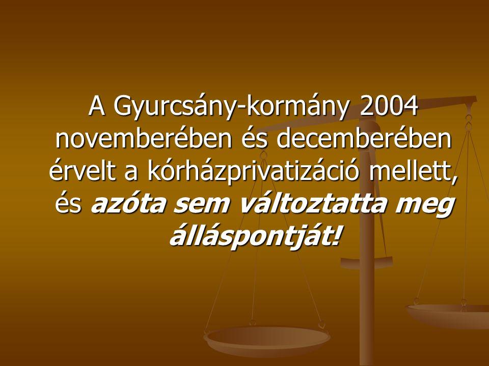 A Gyurcsány-kormány 2004 novemberében és decemberében érvelt a kórházprivatizáció mellett, és azóta sem változtatta meg álláspontját!