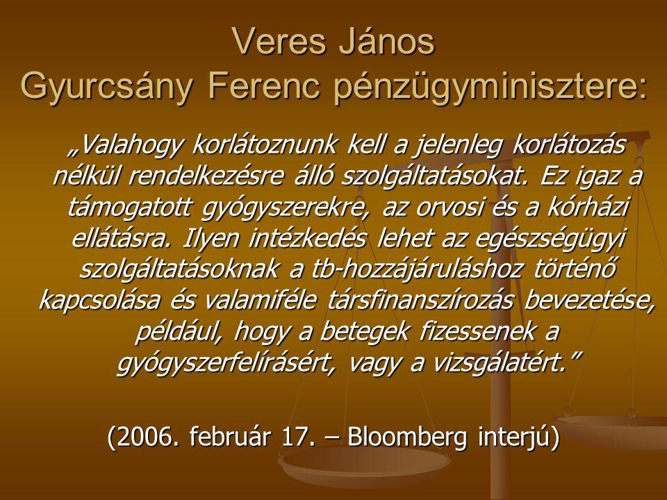 """Ez nemcsak Veres magánötlete, jól mutatja Gyurcsány Ferenc nyilatkozata: """"Receptdíj, vizitdíj, ezeknek a kérdéseknek nagyon gyorsan napirendre kell kerülniük. (2005."""