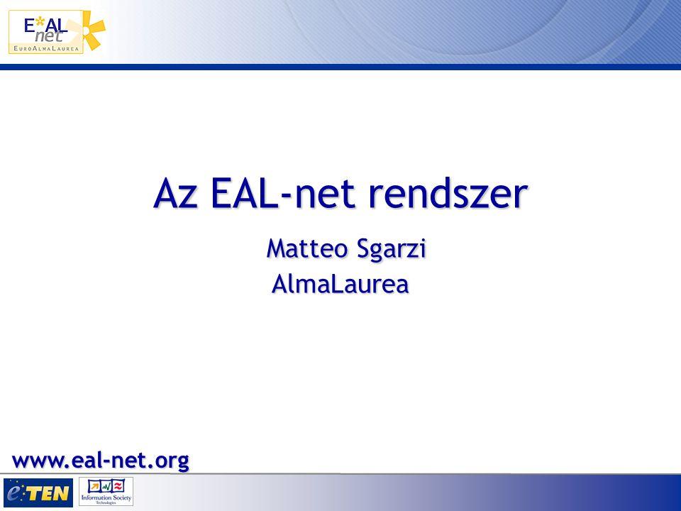 Az EAL-net rendszer Matteo Sgarzi AlmaLaurea www.eal-net.org