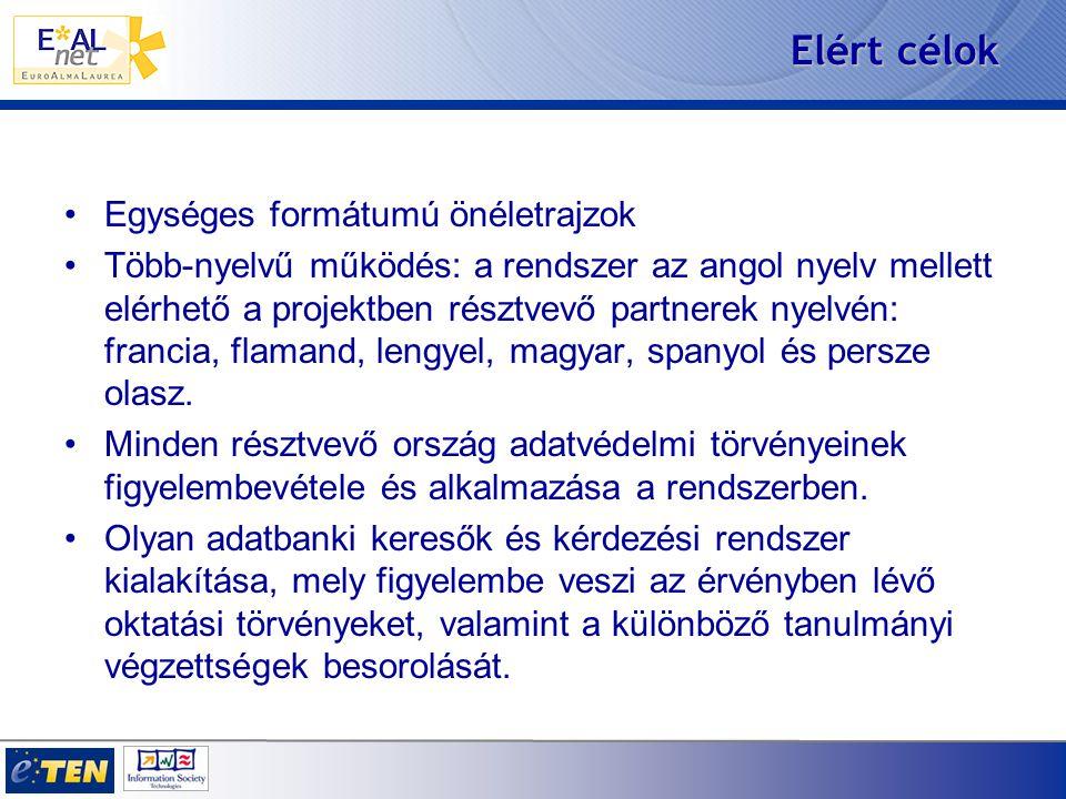 Elért célok Egységes formátumú önéletrajzok Több-nyelvű működés: a rendszer az angol nyelv mellett elérhető a projektben résztvevő partnerek nyelvén: francia, flamand, lengyel, magyar, spanyol és persze olasz.