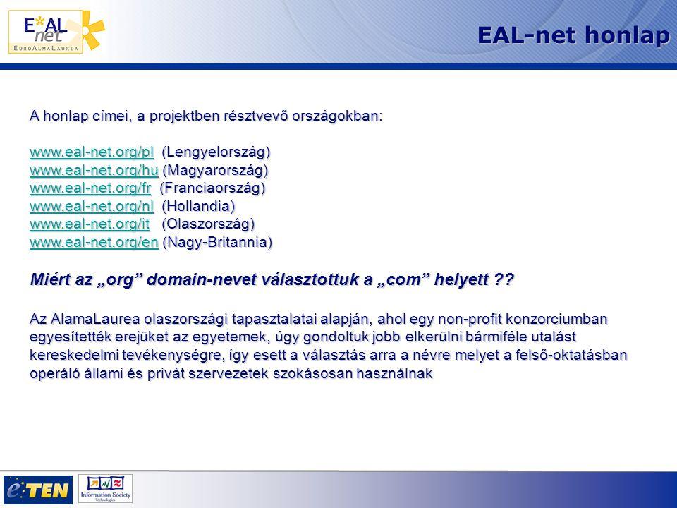 Hogyan működik az EAL-net A diplomázás előtt a titkárságon leadja a bizonylatot A végzett hallgatók adminisztrációs adatainak iktatása az EAL-net rendszerben Ezáltal belépést kap a kérdőívhez, melyet kitölt A végzős regisztrálja magát a lapon A hallgatók belépnek az EAL-net honlapjára Lesz egy felhasználói neve és egy jelszava A bizonylat kinyomtatása (engedélyezem/nem engedélyezem a CV publikálását) A hallgató végzése után az egyetem hitelesíti a tanulmányi adatait A diploma után a hallgatók frissíthetik saját önéletrajzukat A végzős hallgatók tájékoztatása az EAL-net szolgáltatásairól: Papíron a titkárságokon illetve az egyetem honlapján