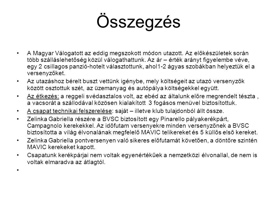 Összegzés A Magyar Válogatott az eddig megszokott módon utazott.