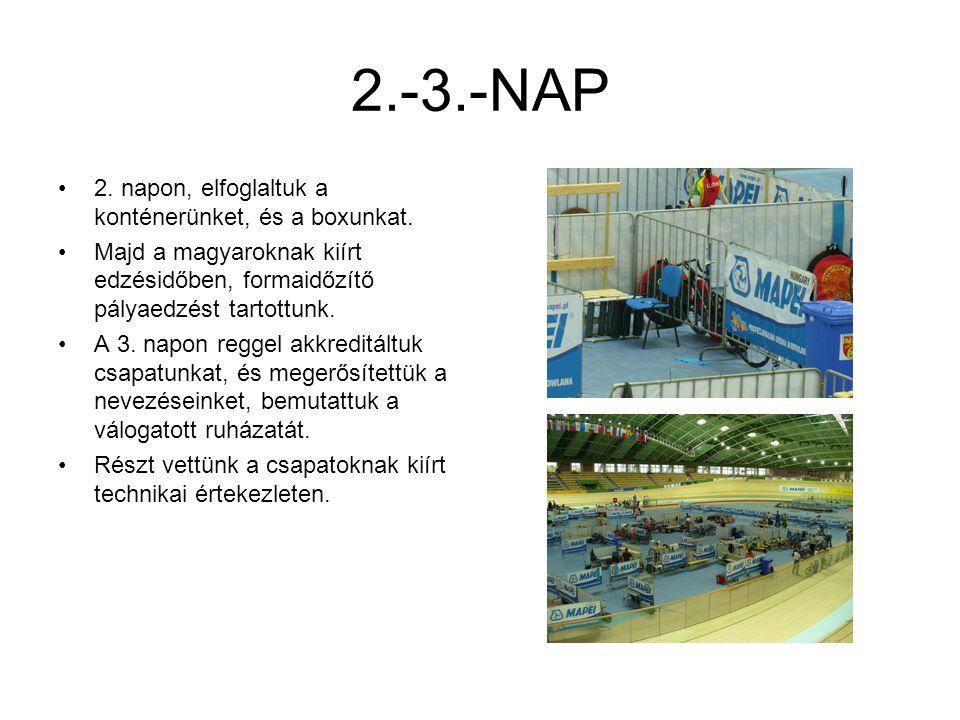2.-3.-NAP 2. napon, elfoglaltuk a konténerünket, és a boxunkat. Majd a magyaroknak kiírt edzésidőben, formaidőzítő pályaedzést tartottunk. A 3. napon